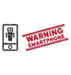 Robot communicator mosaic and grunge warning vector