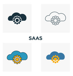 saas icon set four elements in diferent styles vector image