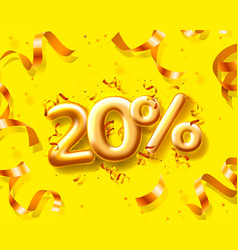 Sale 20 off ballon number on yellow background vector