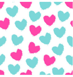 seamless pattern color painted hearts vector image