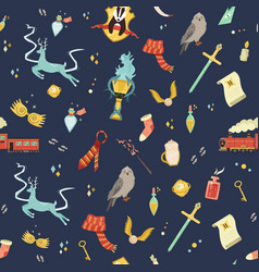 seamless pattern with magic items and tools vector image