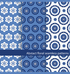 set floral ethnic seamless patterns vector image