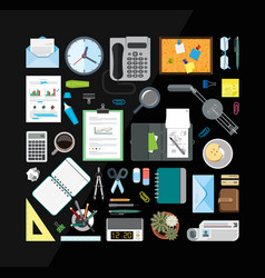 set of office related items from top view vector image