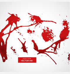 Set of red splatter ink vector