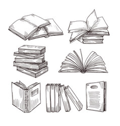 sketch books ink drawing vintage open book and vector image