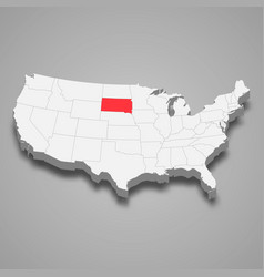 South dakota state location within united states vector