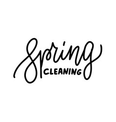 spring cleaning - hand drawn line lettering quote vector image