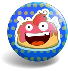 Strawberry cake on round badge vector