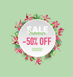Summer sale tropical flowers banner for discount vector