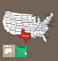 texas state location map on usa map vector image