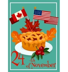 Thanksgiving Day pie greeting card design vector