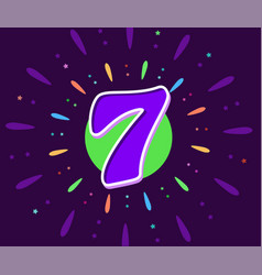 the violet 7 in middle fireworks vector image