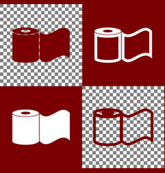Toilet paper sign bordo and white icons vector