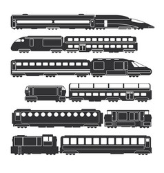Trains and wagons black railway cargo and vector
