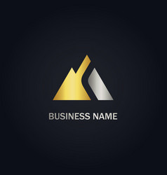 triangle abstract mountain gold logo vector image