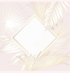Tropical palm leaves card template on pink vector