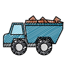 truck dump with bricks vector image