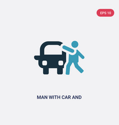 Two color man with car and suitcase icon from vector