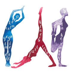 watercolor silhouettes of woman practicing yoga vector image