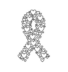 emblem breast cancer with hearts vector image vector image