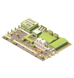 isometric low poly garbage recycling center vector image vector image