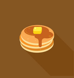 pancake with syrup and butter on top vector image vector image