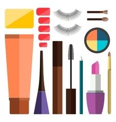 Set of flat cosmetics vector image