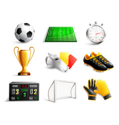 soccer 3d icons set vector image