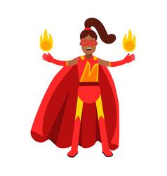 young black woman in classic red superhero costume vector image vector image
