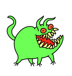 Funny cute green monster smiles and runs vector