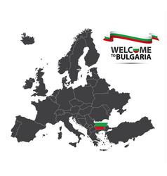 map of europe with the state of bulgaria vector image