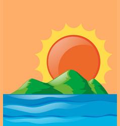 Nature scene of ocean at sunset vector