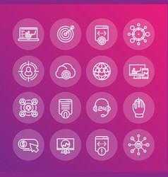 seo line icons set search engine optimization vector image