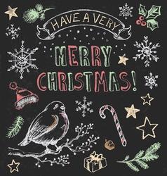 Vintage Christmas Chalkboard Hand Drawn Set vector image vector image