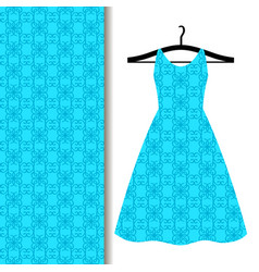 dress fabric pattern with blue pattern vector image vector image