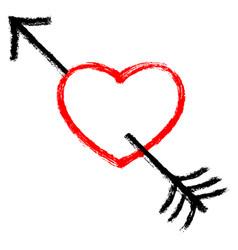 red arrow piercing black heart vector image vector image