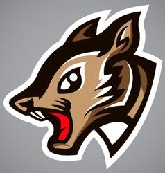 squirrel head gray shield logo vector image