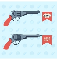 Toy guns with BANG and empty flags vector image vector image