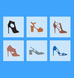 womens shoes flat design footwear shoe vector image