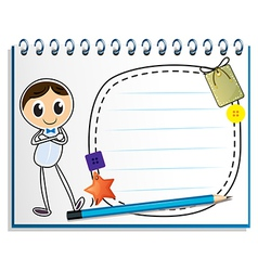 A notebook with a drawing of a man standing vector image vector image