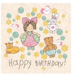Happy birthday girl doodle vector image vector image