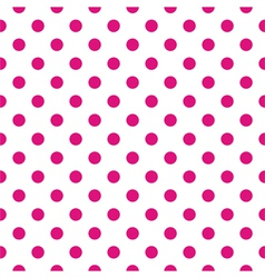 Tile pattern pink polka dots on white background vector image vector image