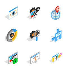 web marketing icons isometric 3d style vector image vector image