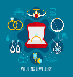 wedding jewelry round composition vector image