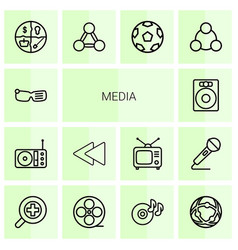 14 media icons vector image