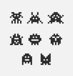 8 bit pixel black arcade game alien invader vector