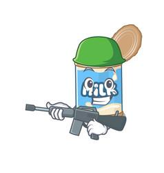 A cartoon design condensed milk army vector