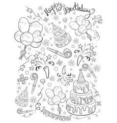 A children coloring bookpage a birthday theme vector