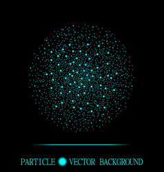 Abstract shpere of cyan glowing light particles vector