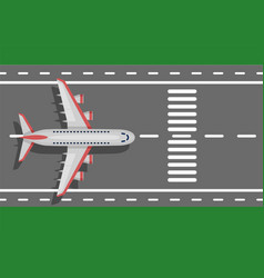 Airplane plane airliner on runway top view vector